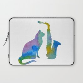 Cat With Saxophone Art Laptop Sleeve