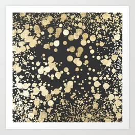 Chic black and gold modern confetti pattern Art Print