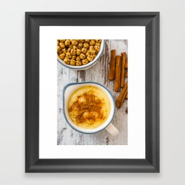 Boza or Bosa, traditional Turkish dessert made of millet or corn flour Framed Art Print