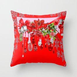 RED CHRISTMAS SNOW FLAKES & AMARYLLIS CHRISTMAS ORNAMENTS Throw Pillow