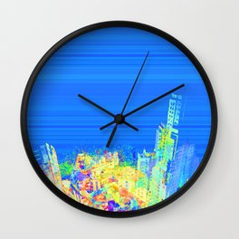Colorful building perspective city eagle view over blue sky 003 Wall Clock