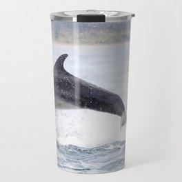 Jumping (breaching) Wild bottlenose dolphin tursiops truncatus. Travel Mug
