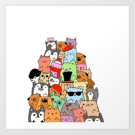 Cute Cats and Dogs Doodle Art Print