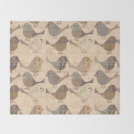 Nostalgic Autumn Patchwork Bird Pattern in warm retro colors #autumndecoration Throw Blanket