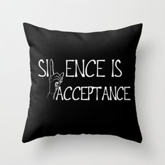 Silence is Acceptance Inverse Colors Throw Pillow
