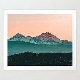 Grainy Sunset Mountain View // Textured Landscape Photograph of the Beautiful Orange and Blue Skies Art Print