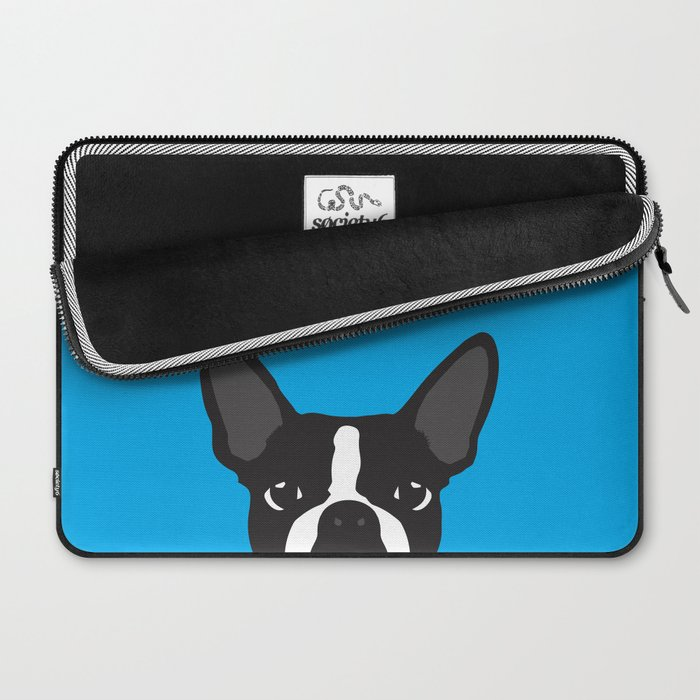 Boston Terrier Blue Laptop Sleeve
