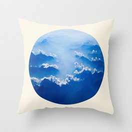 Mountains With Their Company Of Clouds Circle Photo Throw Pillow