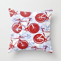 bikes Throw Pillows featuring Bikes by StephanieTara