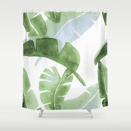 Tropical Leaves Green And Blue Shower Curtain