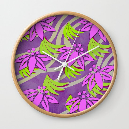 Wall Clock Floral Design : Spring floral design wall clock by loro art pictures