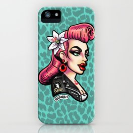 Pink hair Rockabilly Girl iPhone Case