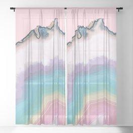 Rainbow Agate Slice Sheer Curtain