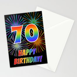 "70th Birthday ""70"" & ""HAPPY BIRTHDAY!"" w/ Rainbow Spectrum Colors + Fun Fireworks Inspired Pattern Stationery Cards"