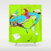 akira Shower Curtains featuring 因幡の白兎 - WHITE HARE OF INABA by kasi minami