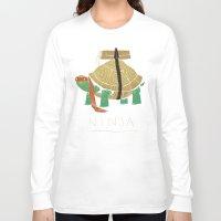 ninja turtle Long Sleeve T-shirts featuring ninja - orange by Louis Roskosch
