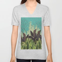 Tropical Desert Illustration  Unisex V-Neck
