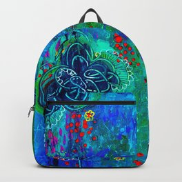In Too Deep - Blue Abstract Flowers Backpack