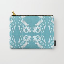 Blue White Paint Spill Pattern Carry-All Pouch