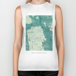 San Francisco Map Blue Vintage  Biker Tank