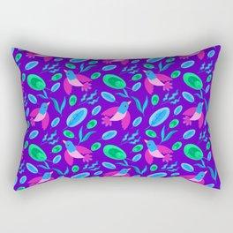 Pretty cute little pink birds, green blue delicate leaves, plants purple seamless p Rectangular Pillow