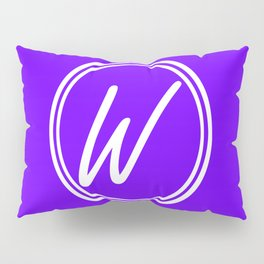 Monogram - Letter W on Indigo Violet Background Pillow Sham