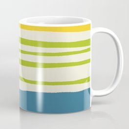 Playing with Strings - Line Art - Blue, Green, Yellow Coffee Mug