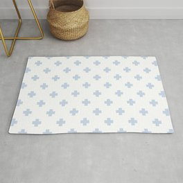 Pale Blue Swiss Cross Pattern Rug
