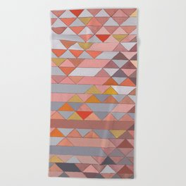 Triangle Pattern no.5 Gold, Pink and Brown Beach Towel
