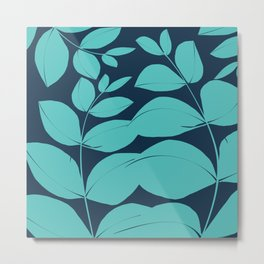 Aqua Leaves Metal Print