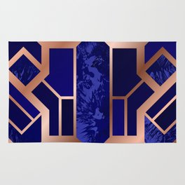 Art Deco Cobalt Blue Gold Marble Pattern Rug