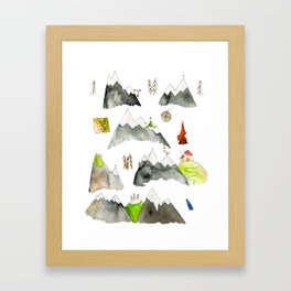 Watercolor Hills for Hikers and Nature lovers Framed Art Print