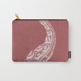Woodcut Style Cthulu Octopus Tentacle on Pink Background Carry-All Pouch