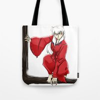 inuyasha Tote Bags featuring Inuyasha  by mothroot