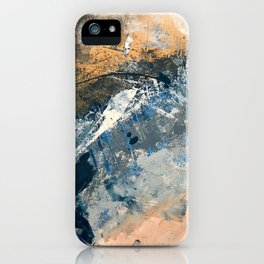 Wander [3]: a vibrant, colorful abstract in blues, pink, white, and gold iPhone Case