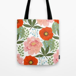 Pions and Poppies Tote Bag