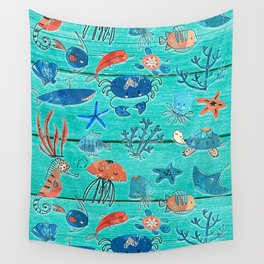 Blue & Orange Under the Sea Wall Tapestry