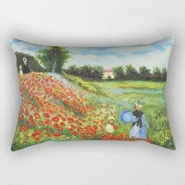 Claude Monet - Poppy Field at Argenteuil Rectangular Pillow