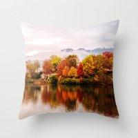 north carolina Throw Pillows featuring Lake Junaluska, North Carolina by Mary Timman