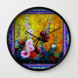 Hollyhock Painting in a Western Style Art Design Wall Clock