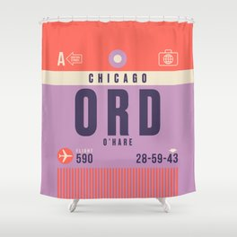 Retro Airline Luggage Tag - ORD Chicago O'Hare Shower Curtain