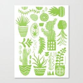Cactii Textured Print Pattern Canvas Print