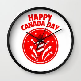 Happy Canada Day Fireworks  Wall Clock