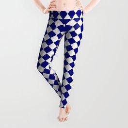 White and Navy Blue Diamonds Leggings