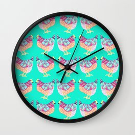 Colorful Chickens With Aqua Background Wall Clock