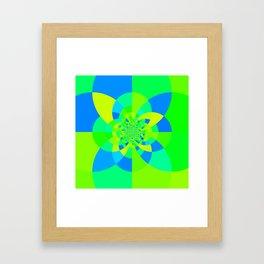 Green & Turquoise Kaleidoscope Design Framed Art Print