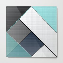 Grey-blue-black pattern . Abstraction . Patchwork . Metal Print
