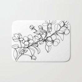 Apple Blossoms, A Continuous Line Drawing Bath Mat