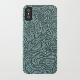 Sagey Teal Tooled Leather iPhone Case