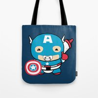 avenger Tote Bags featuring Littlest Avenger by OneWeirdDude